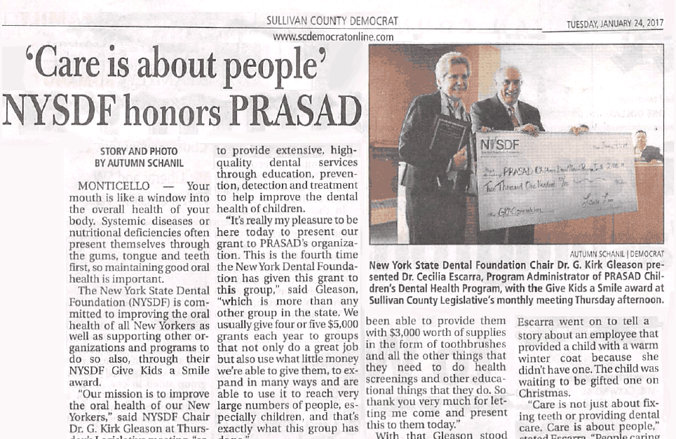 'Care is about people' NYSDF honors PRASAD